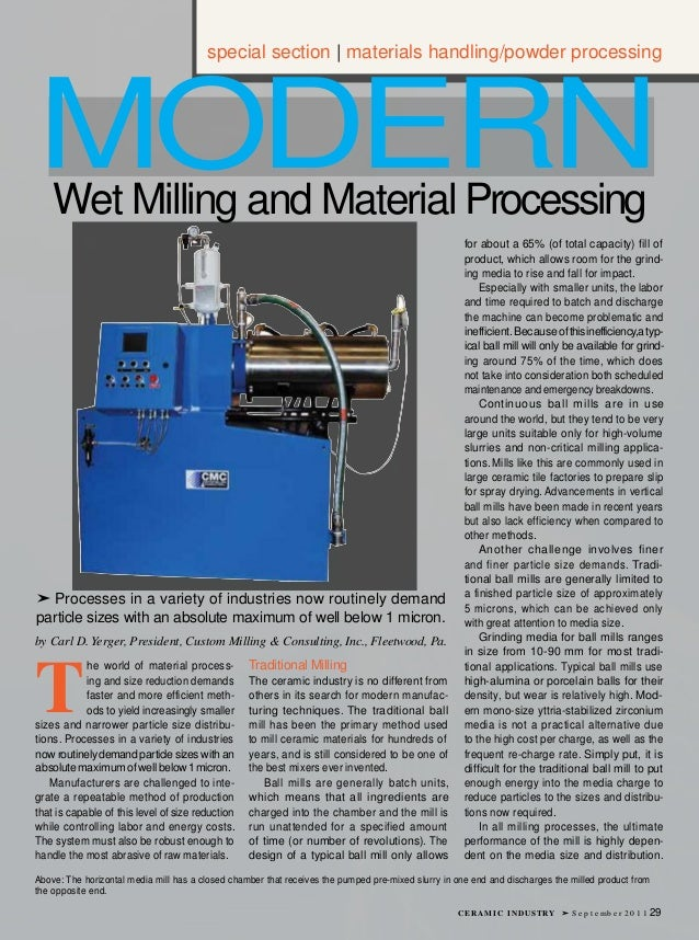 special section | materials handling/powder processingMODERN    Wet Milling and Material Processing                       ...