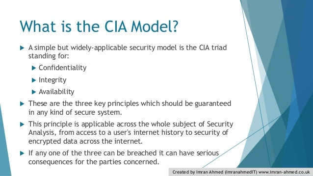 cia triad security models Cia security model confidentiality, integrity & availability created by imran  a  simple but widely-applicable security model is the cia triad.
