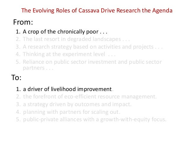 The Evolving Roles of Cassava Drive Research the Agenda  From: 1. 2. 3. 4. 5.  A crop of the chronically poor . . . The la...