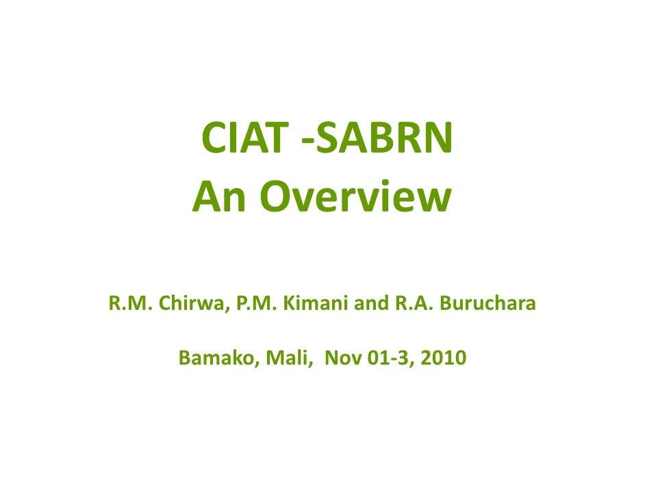 CIAT‐SABRN         AnOverview  R.M.Chirwa,P.M.KimaniandR.A.Buruchara         Bamako,Mali,Nov01‐3,2010