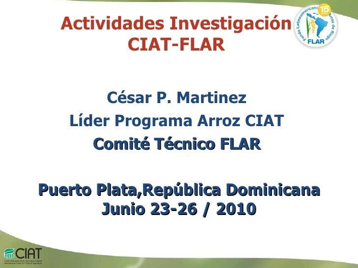 Actividades Investigación  CIAT-FLAR  César P. Martinez  Líder Programa Arroz CIAT  Comité Técnico FLAR  Puerto Plata,Repú...