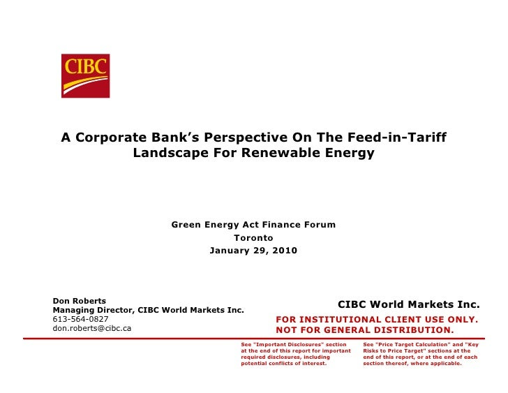 A Corporate Bank's Perspective On The Feed-in-Tariff           Landscape For Renewable Energy                             ...