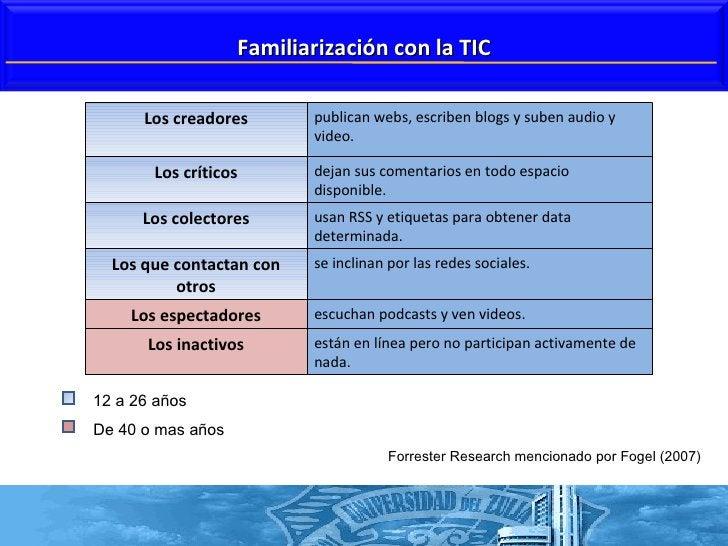 Forrester Research mencionado por Fogel (2007) 12 a 26 años  De 40 o mas años  Familiarización con la TIC Los creadores pu...
