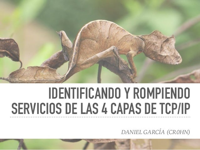 IDENTIFICANDO Y ROMPIENDO SERVICIOS DE LAS 4 CAPAS DE TCP/IP DANIEL GARCÍA (CR0HN)