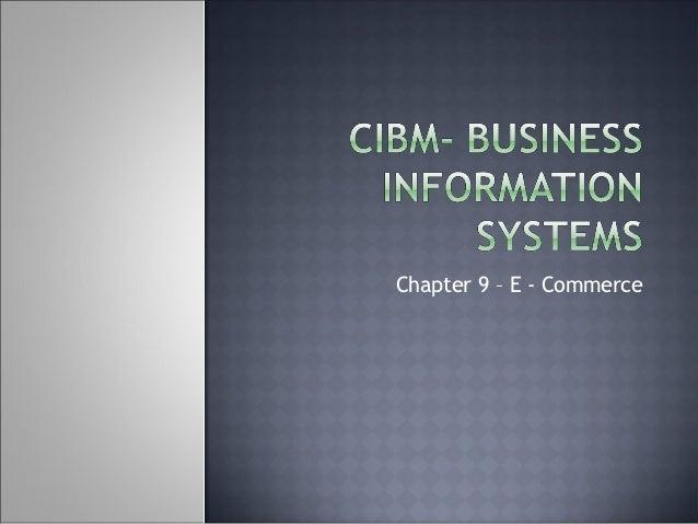 Chapter 9 – E - Commerce