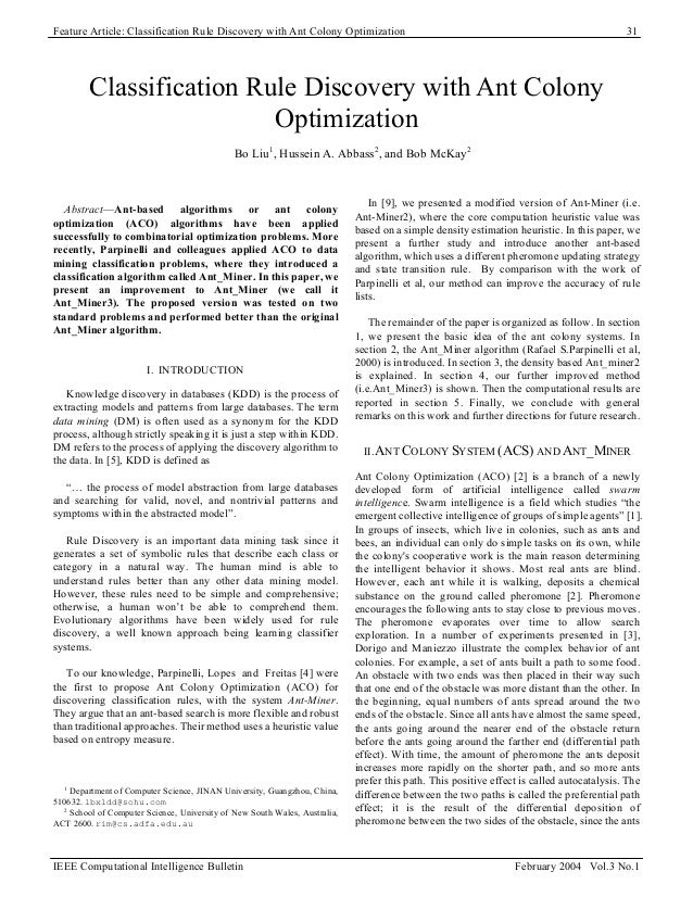 Feature Article: Classification Rule Discovery with Ant Colony Optimization 31 Classification Rule Discovery with Ant Colo...