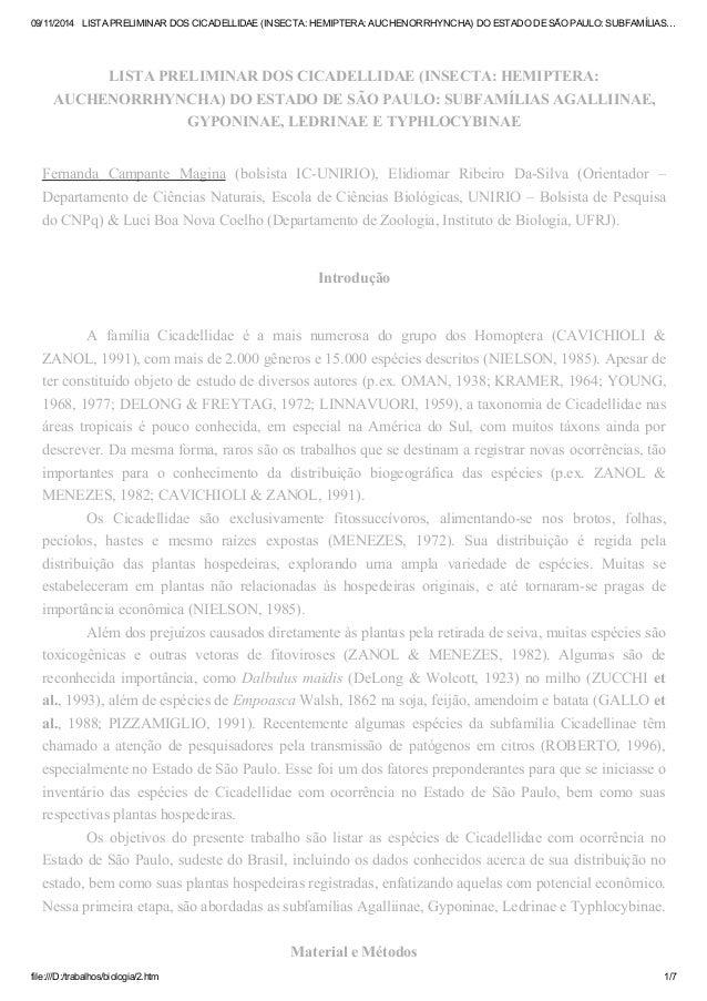 09/11/2014 LISTA PRELIMINAR DOS CICADELLIDAE (INSECTA: HEMIPTERA: AUCHENORRHYNCHA) DO ESTADO DE SÃO PAULO: SUBFAMÍLIAS…  L...
