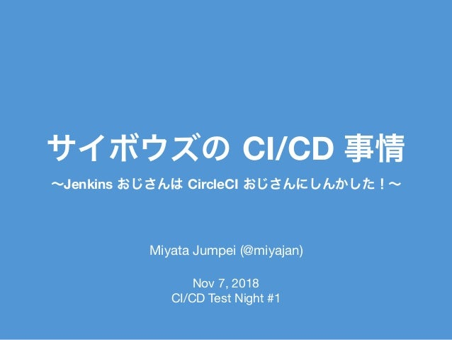 CI/CD Miyata Jumpei (@miyajan)  Jenkins CircleCI Nov 7, 2018  CI/CD Test Night #1