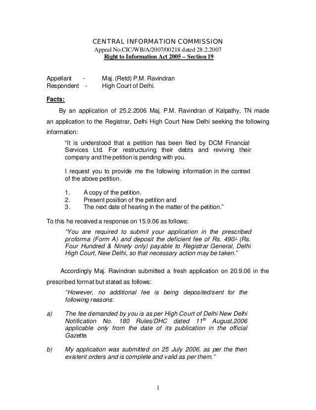 CENTRAL INFORMATION COMMISSION                   Appeal No.CIC/WB/A/2007/00218 dated 28.2.2007                      Right ...
