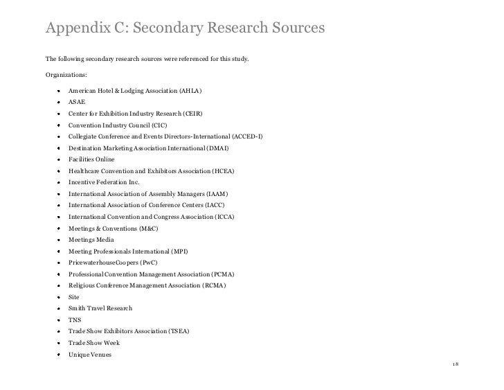Appendix C: Secondary Research SourcesThe following secondary research sources were referenced for this study.Organization...