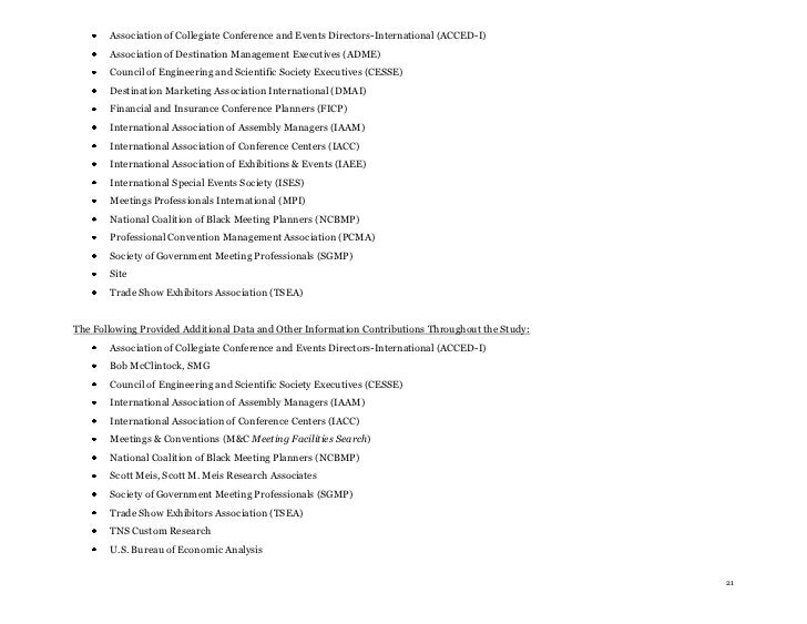 Association of Collegiate Conference and Events Directors-International (ACCED-I)       Association of Destination Managem...