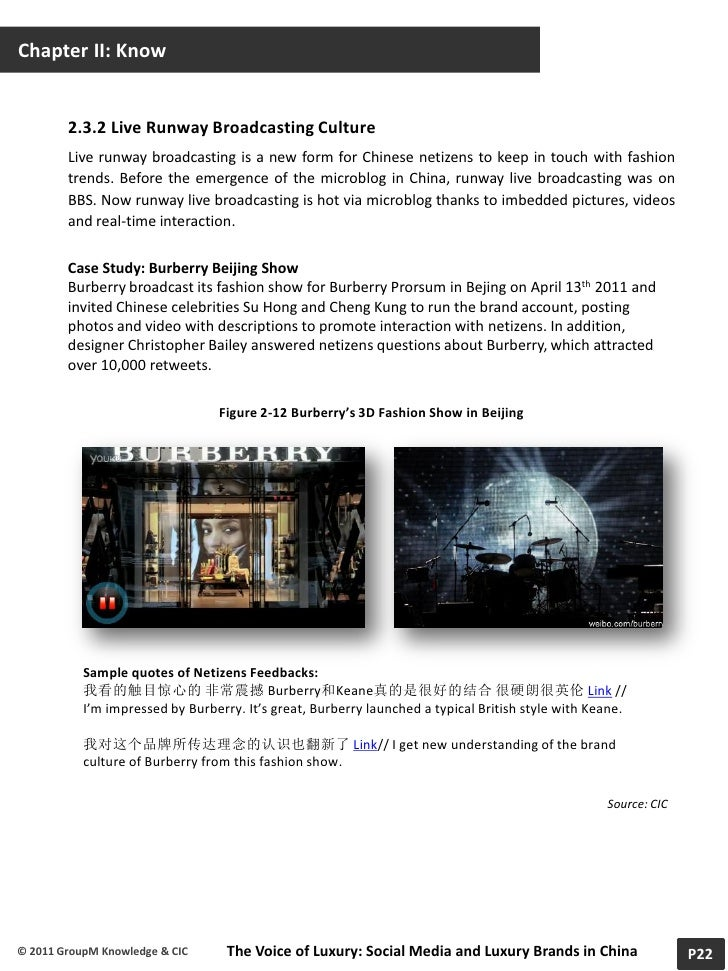 burberry in china case study The case study includes evaluation of burberry's licensing operations and branding strategy the major finding shows that burberry had poor operation in licensing however bravo and ahrendt have made improvements on buying back and renovating licensing.