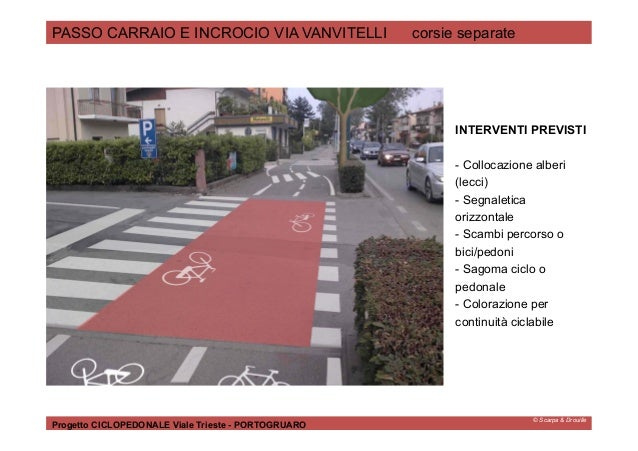© Scarpa & Drouille PASSO CARRAIO E INCROCIO VIA VANVITELLI corsie separate Progetto CICLOPEDONALE Viale Trieste - PORTOGR...