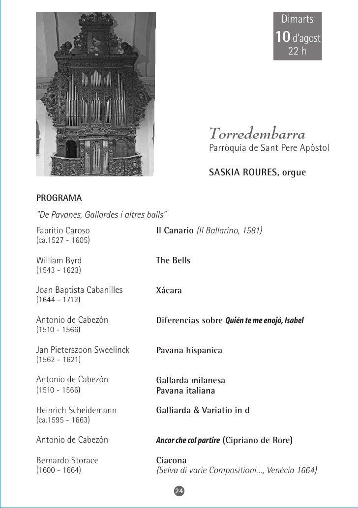 Dissabte 14 d'agost     22 h                    L'Aleixar     Parròquia de Sant Martí   DANIEL PARACHE, orgue  PROGRAMA  A...