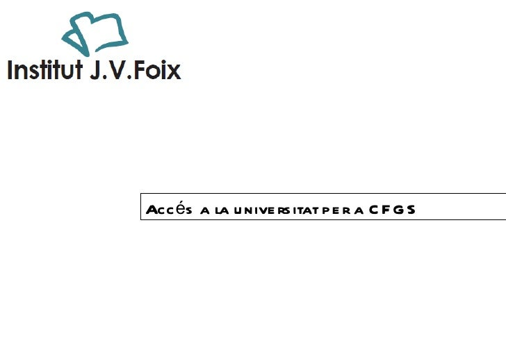 Accés a la universitat per a CFGS