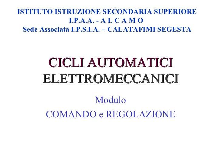 CICLI AUTOMATICI   ELETTROMECCANICI ISTITUTO ISTRUZIONE SECONDARIA SUPERIORE I.P.A.A. - A L C A M O  Sede Associata I.P.S....