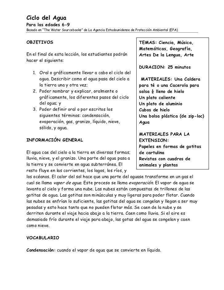 """Ciclo del Agua Para las edades 6-9 Basado en """"The Water Sourcebooks"""" de La Agencia Estadounidense de Protección Ambiental ..."""