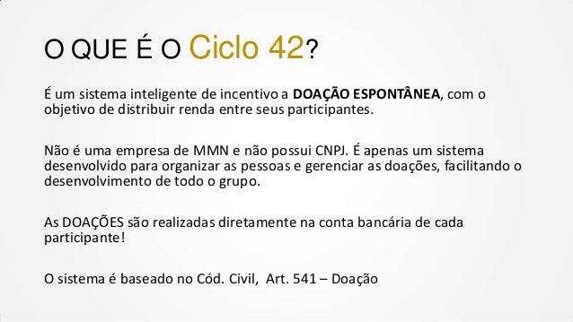 O QUE É O Ciclo  42?  É um sistema inteligente de incentivo a DOAÇÃO ESPONTÂNEA, com o objetivo de distribuir renda entre ...