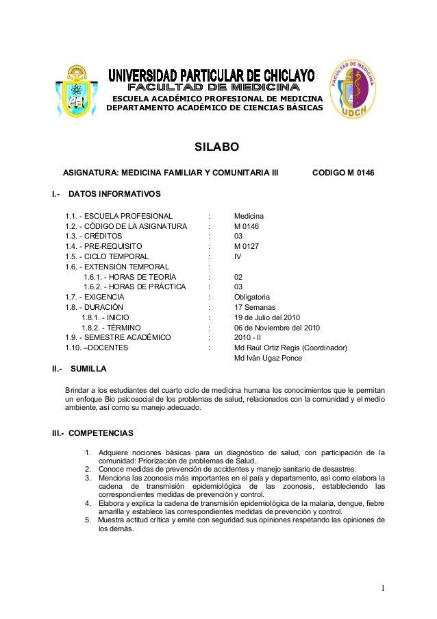 ESCUELA ACADÉMICO PROFESIONAL DE MEDICINA DEPARTAMENTO ACADÉMICO DE CIENCIAS BÁSICAS SILABO ASIGNATURA: MEDICINA FAMILIAR ...