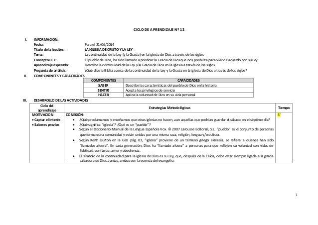 1 CICLO DE APRENDIZAJE Nº 12 I. INFORMACION: Fecha: Para el 21/06/2014 Título de la lección: LA IGLESIA DE CRISTO Y LA LEY...