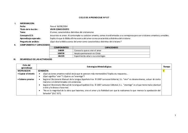 1 CICLO DE APRENDIZAJE Nº 07 I. INFORMACION: Fecha: Para el 16/08/2014 Título de la lección: VIVIR COMO CRISTO Tema: El am...