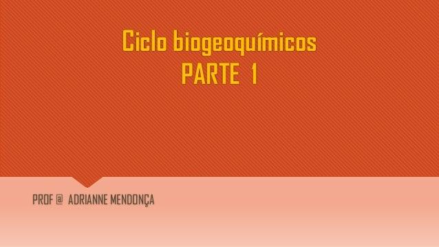 Ciclo biogeoquímicos PARTE 1 PROF @ ADRIANNE MENDONÇA