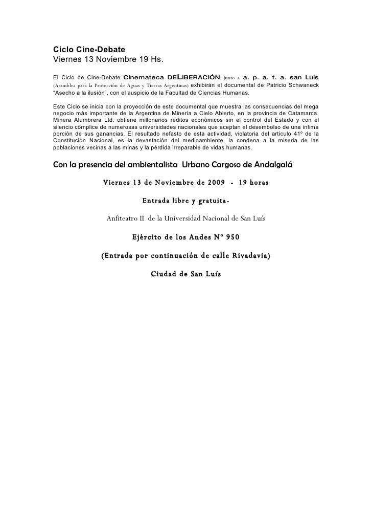 Ciclo Cine-Debate Viernes 13 Noviembre 19 Hs.  El Ciclo de Cine-Debate Cinemateca DELIBERACIÓN junto a a. p. a. t. a. san ...