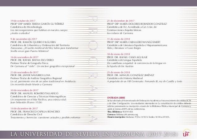 LA UNIVERSIDAD DE SEVILLA EN CARMONA (2017-2018) PROGRAMA 19 de octubre de 2017 PROFª DRª MARÍA TERESA GARCÍA GUTIÉRREZ Ca...