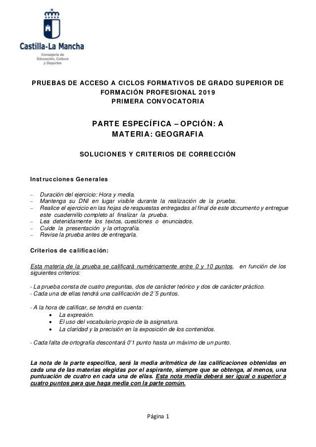 Criterios De Corrección Examen De Geografía Acceso A Ciclos