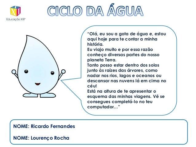 """NOME: Ricardo Fernandes NOME: Lourenço Rocha """"Olá, eu sou a gota de água e, estou aqui hoje para te contar a minha históri..."""