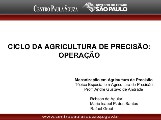 CICLO DA AGRICULTURA DE PRECISÃO: OPERAÇÃO  Mecanização em Agricultura de Precisão Tópico Especial em Agricultura de Preci...