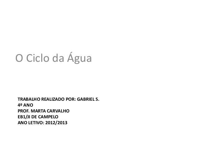 O Ciclo da ÁguaTRABALHO REALIZADO POR: GABRIEL S.4º ANOPROF. MARTA CARVALHOEB1/JI DE CAMPELOANO LETIVO: 2012/2013