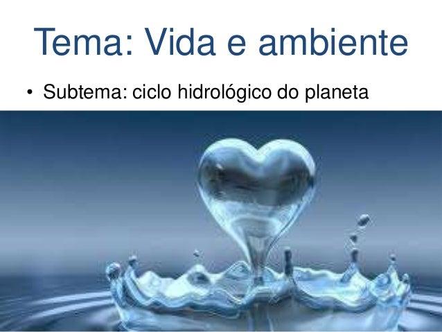 Tema: Vida e ambiente • Subtema: ciclo hidrológico do planeta
