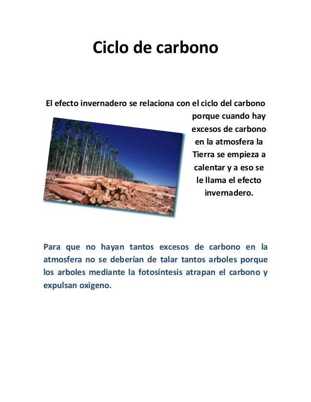 Ciclo de carbonoEl efecto invernadero se relaciona con el ciclo del carbonoporque cuando hayexcesos de carbonoen la atmosf...