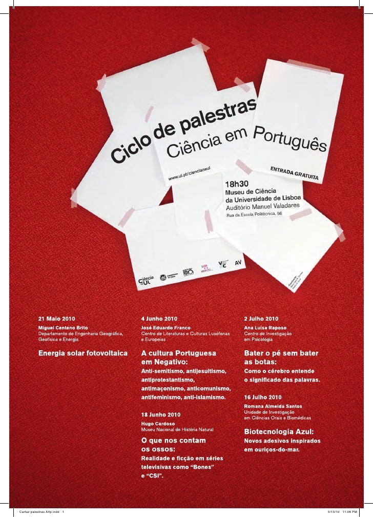 """Ciclo de palestras """"Ciência em Português"""" (Ciência na UL)"""