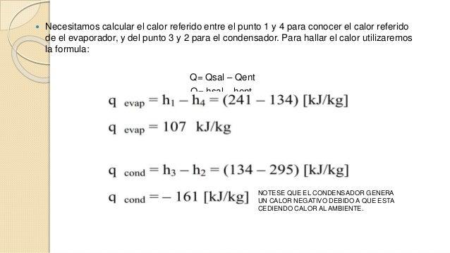  Necesitamos calcular el calor referido entre el punto 1 y 4 para conocer el calor referido  de el evaporador, y del punt...