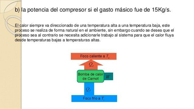 b) la potencia del compresor si el gasto másico fue de 15Kg/s.  El calor siempre va direccionado de una temperatura alta a...