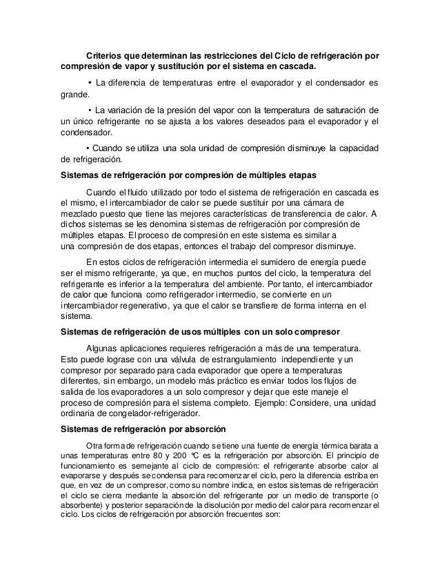 Criterios que determinan las restricciones del Ciclo de refrigeración por compresión de vapor y sustitución por el sistema...