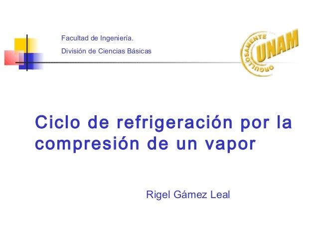 Ciclo de refrigeración por la compresión de un vapor Facultad de Ingeniería. División de Ciencias Básicas Rigel Gámez Leal