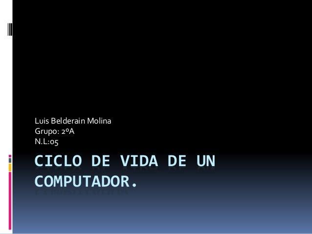 CICLO DE VIDA DE UN COMPUTADOR. Luis Belderain Molina Grupo: 2ºA N.L:05