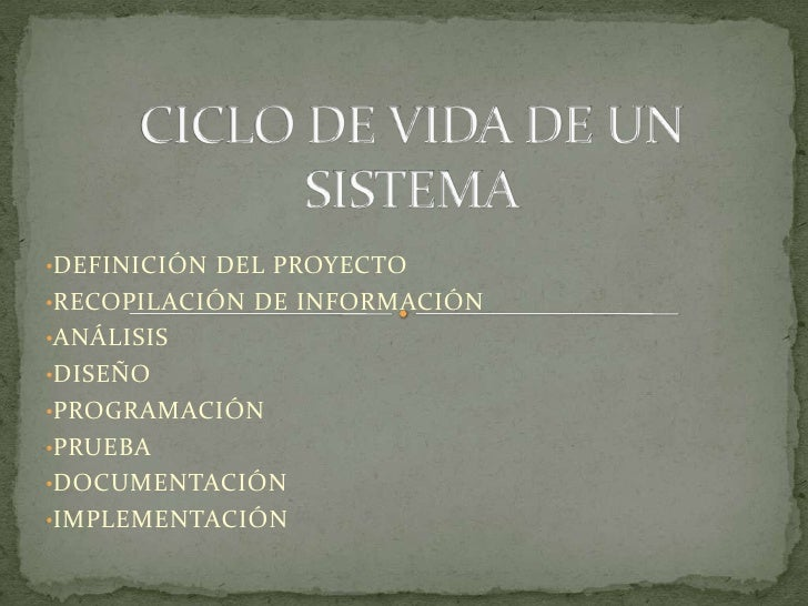 CICLO DE VIDA DE UN SISTEMA<br /><ul><li>DEFINICIÓN DEL PROYECTO