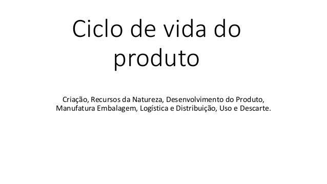 Ciclo de vida do produto Criação, Recursos da Natureza, Desenvolvimento do Produto, Manufatura Embalagem, Logística e Dist...