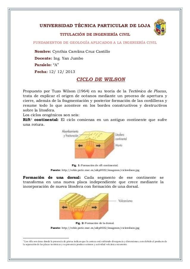 UNIVERSIDAD TÉCNICA PARTICULAR DE LOJA TITULACIÓN DE INGENIERÍA CIVIL FUNDAMENTOS DE GEOLOGÍA APLICADOS A LA INGENIERÍA CI...