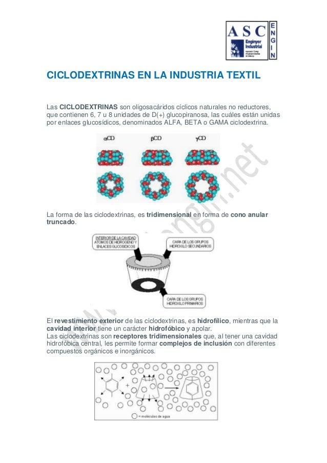 CICLODEXTRINAS EN LA INDUSTRIA TEXTILLas CICLODEXTRINAS son oligosacáridos cíclicos naturales no reductores,que contienen ...