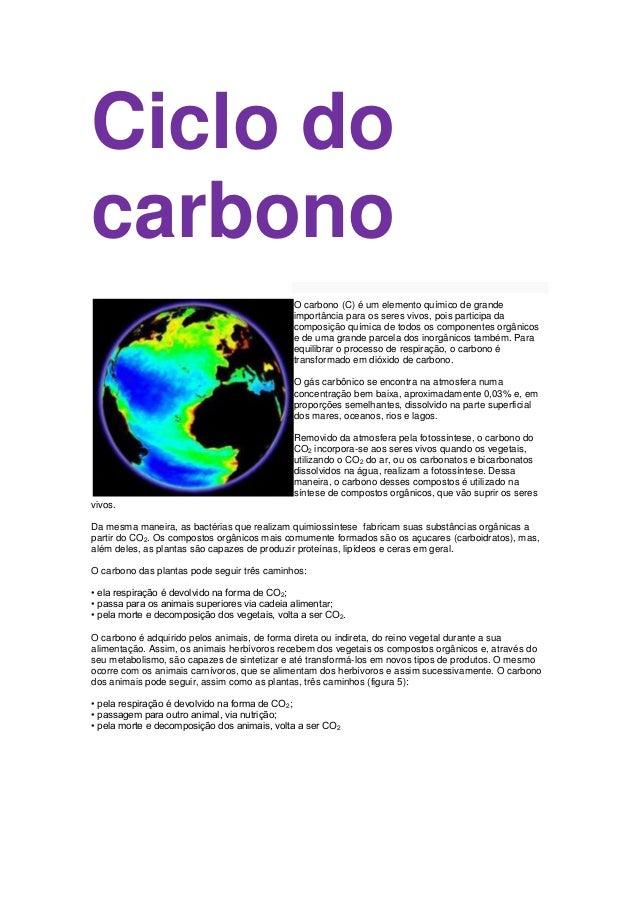 Ciclo docarbono                                              O carbono (C) é um elemento químico de grande                ...