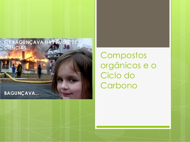 Compostos orgânicos e o Ciclo do Carbono ELE BAGUNÇAVA NAS AULAS DE CIÊNCIAS... BAGUNÇAVA...