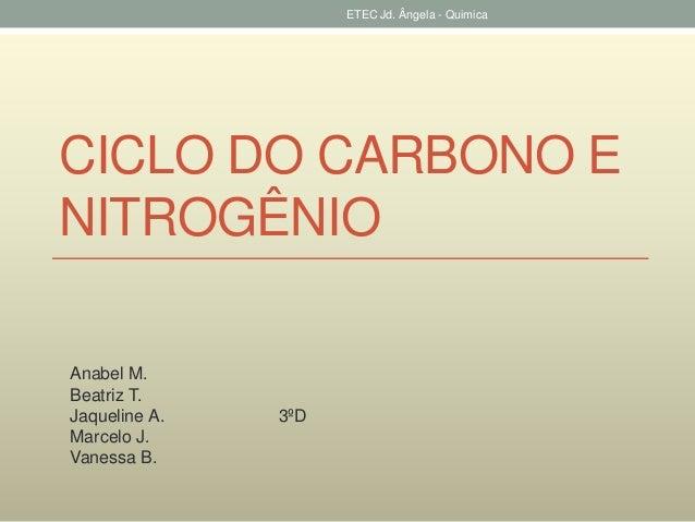 ETEC Jd. Ângela - Quimica  CICLO DO CARBONO E  NITROGÊNIO  Anabel M.  Beatriz T.  Jaqueline A. 3ºD  Marcelo J.  Vanessa B.