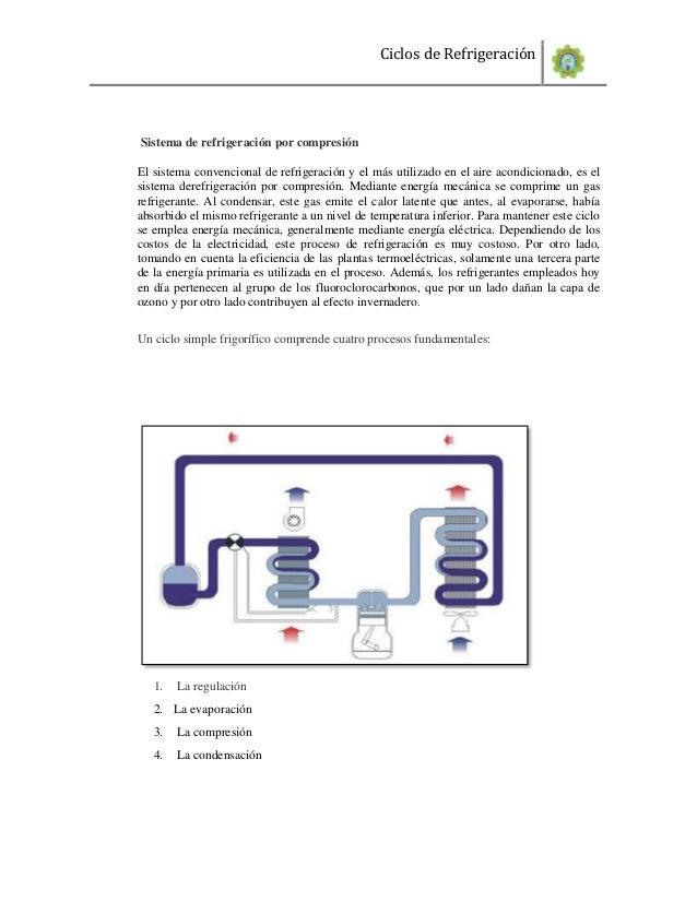 Ciclos de RefrigeraciónSistema de refrigeración por compresiónEl sistema convencional de refrigeración y el más utilizado ...