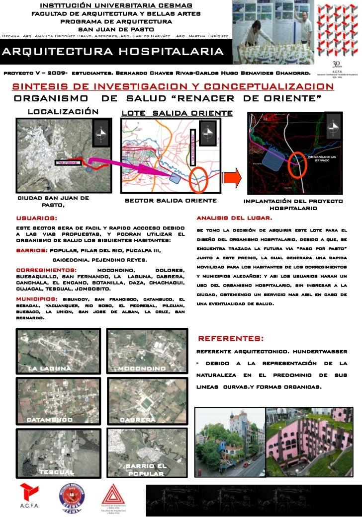 INSTITUCIÓN UNIVERSITARIA CESMAG           FACULTAD DE ARQUITECTURA Y BELLAS ARTES                  PROGRAMA DE ARQUITECTU...