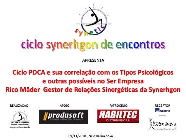 REALIZAÇÃO APOIO PATROCÍNIO RECEPTOR 09/11/2010 , ciclo da lua nova APRESENTA Ciclo PDCA e sua correlação com os Tipos Psi...